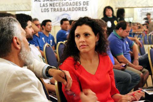 Noveno Plenario de Delegados. Compañeros asesores legales María Martha Terragno y Eugenio Biafore.